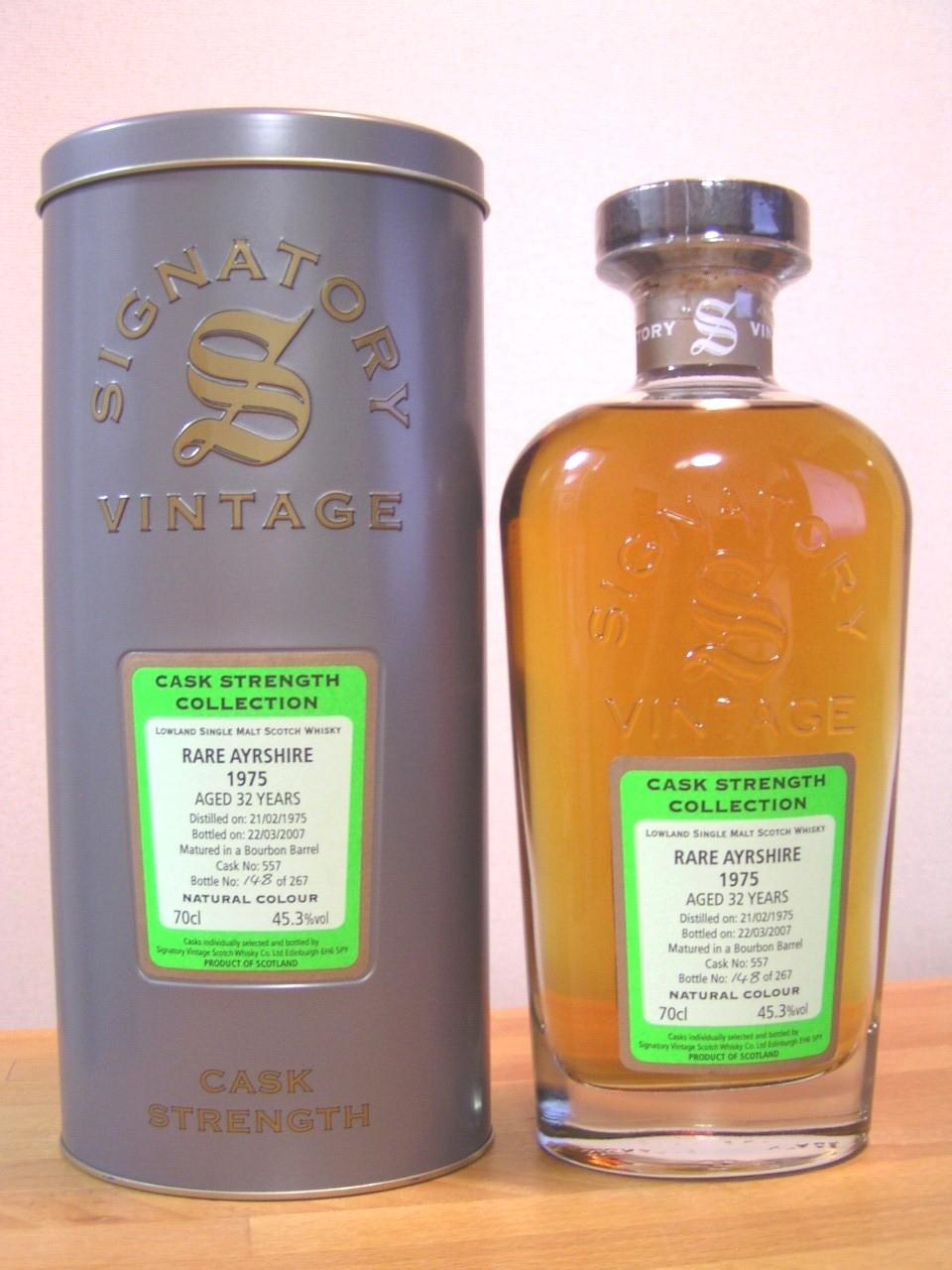 「レディバーン」シグナトリー・ヴィンテージ社のシングルカスク・カスクストレングスでのボトリングです。Signatory Vintage Cask Strength Collection 1975  AYRSHIRE 32y  46° 700ml (LADYBURN) Cask No 556 265 Bottles