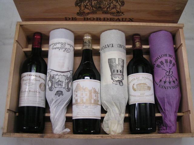 「中田屋特選ギフト」1997BORDEAUX5大シャトーワインとシュヴァルブラン木箱入りフルボトルボルドーワイン6本セット魅力的な宝物セットです。大切なワイン通の方へ。ご自身へのプレゼントにも最適です。