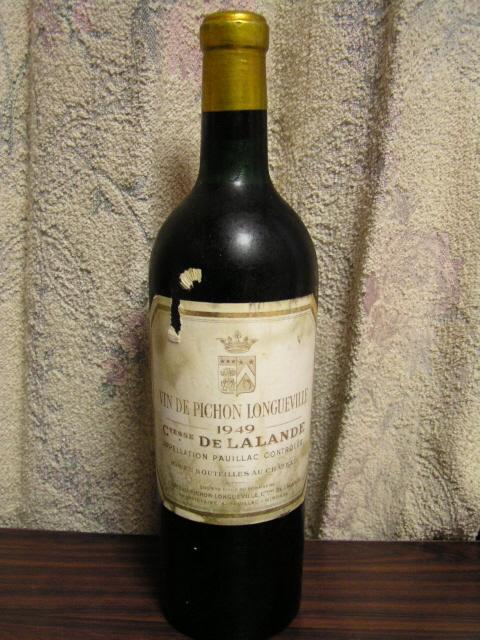 還暦祝いの贈り物1949年生まれの方へ 1949年産ボルドーワイン在庫 1949 Chateau Pichon Longueville Comtesse de Lalande